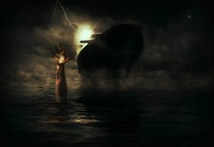 ship, sea, distress